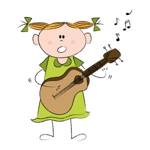 girl, guitar cartoon